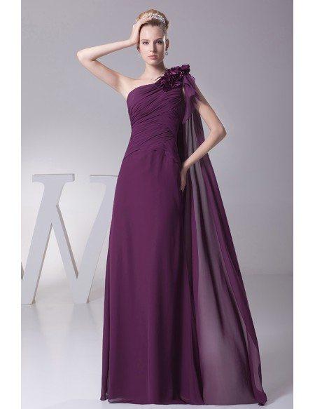 Elegant One Shoulder Folded Chiffon Evening Dress in Grape ...