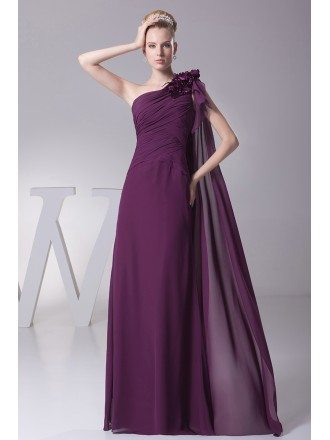 Elegant One Shoulder Folded Chiffon Evening Dress in Grape Color
