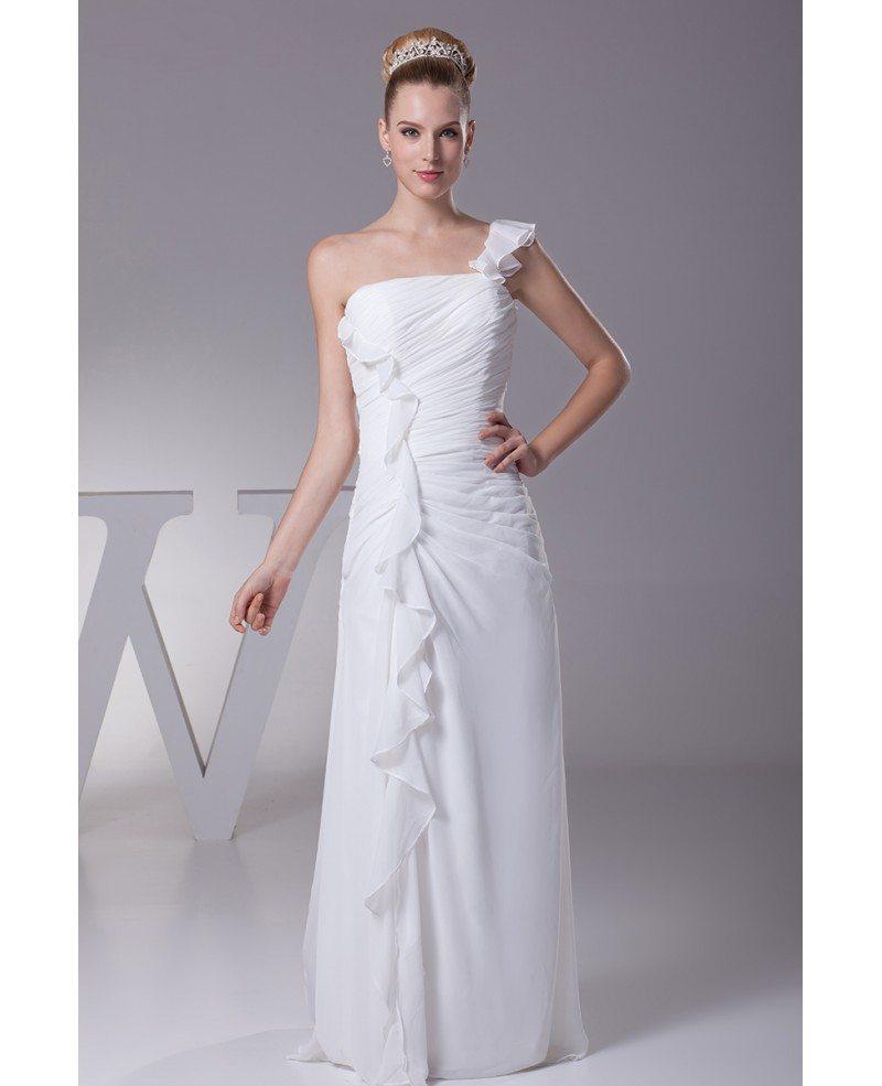 Simple Ruffled One Shoulder Chiffon Long Bridal Dress With