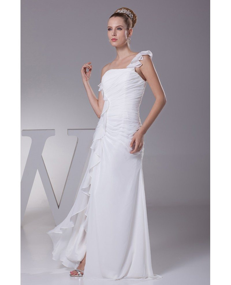 Simple ruffled one shoulder chiffon long bridal dress with for One shoulder wedding dress