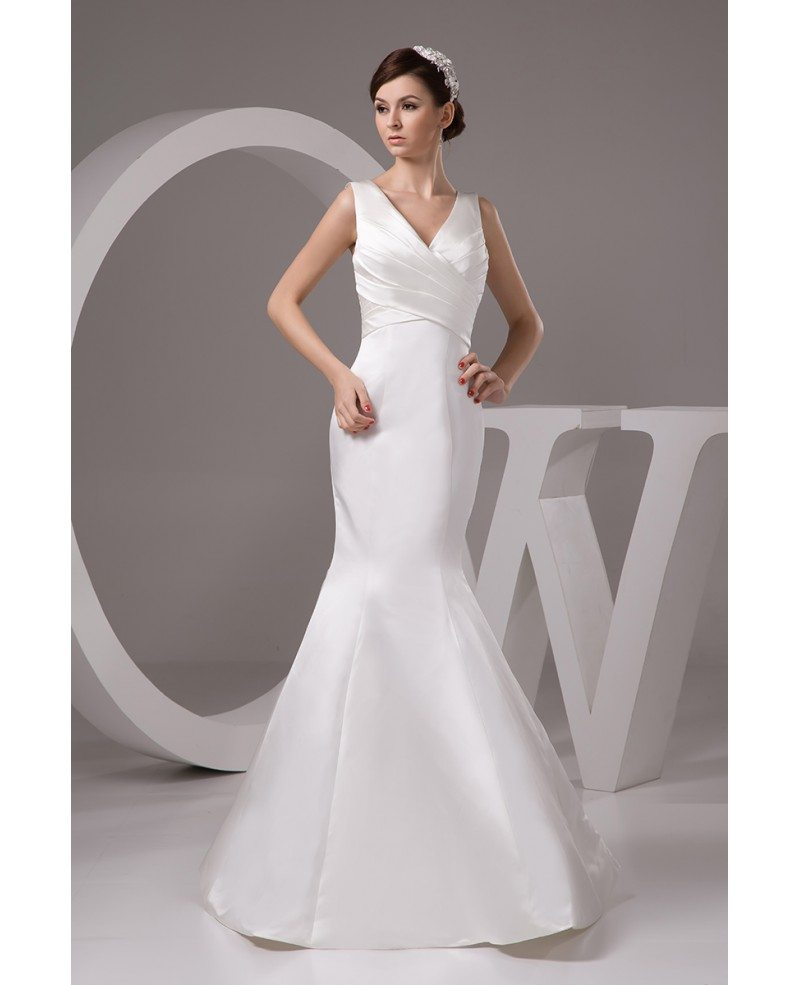 Mermaid v neck floor length satin wedding dress op4765 for V neck satin wedding dress