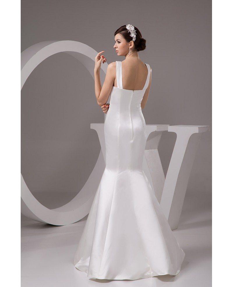 Mermaid V Neck Floor Length Satin Wedding Dress OP4765 1652