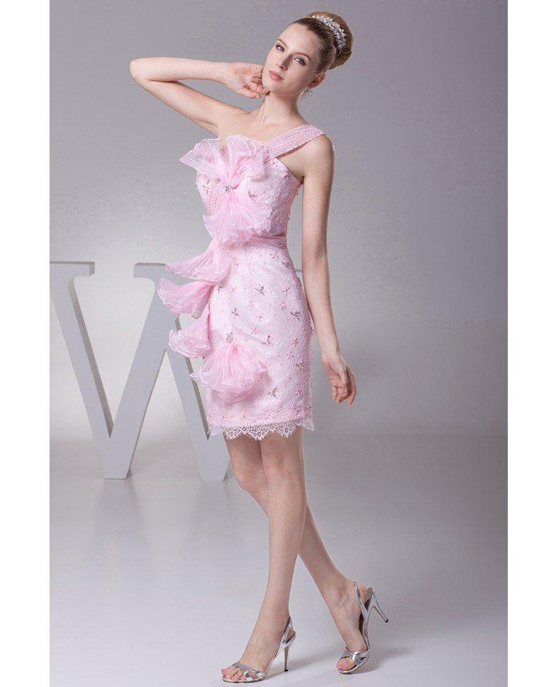 Elegant One Shoulder Short Beaded Lace Pink Bridal Party