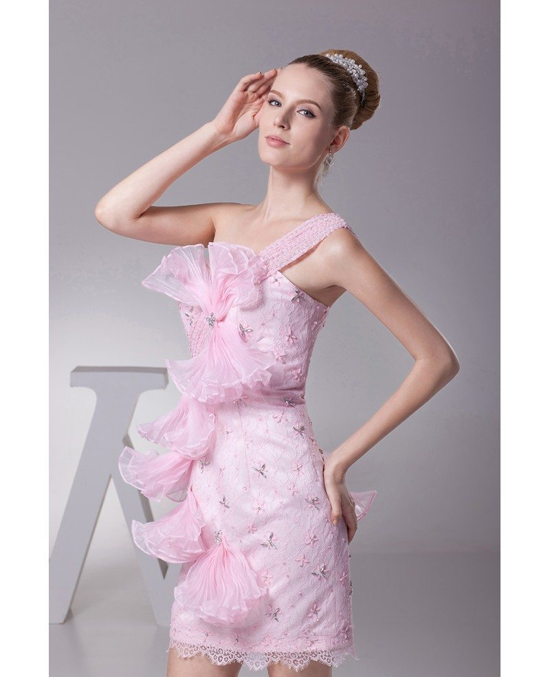 Elegant one shoulder short beaded lace pink bridal party for Elegant wedding party dresses