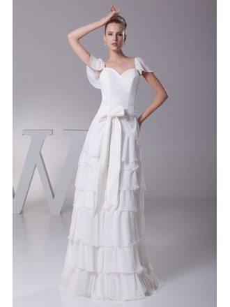 Sweetheart Layered Sash White Bridal Dress with Cap Sleeves