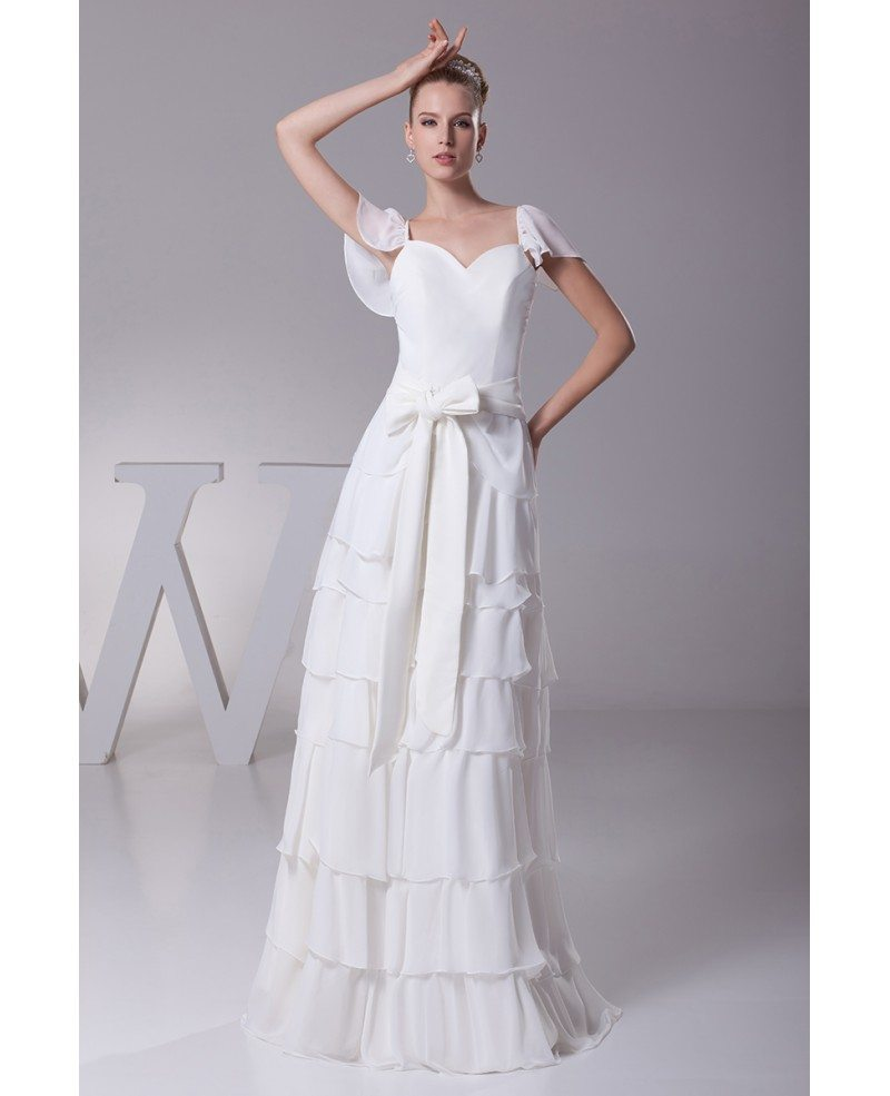 Sweetheart Wedding Dress With Cap Sleeves: Sweetheart Layered Sash White Bridal Dress With Cap