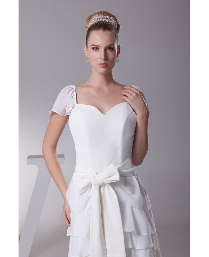 Layered Wedding Dress With Sleeves : Dresses gt sweetheart layered sash white bridal dress with cap sleeves