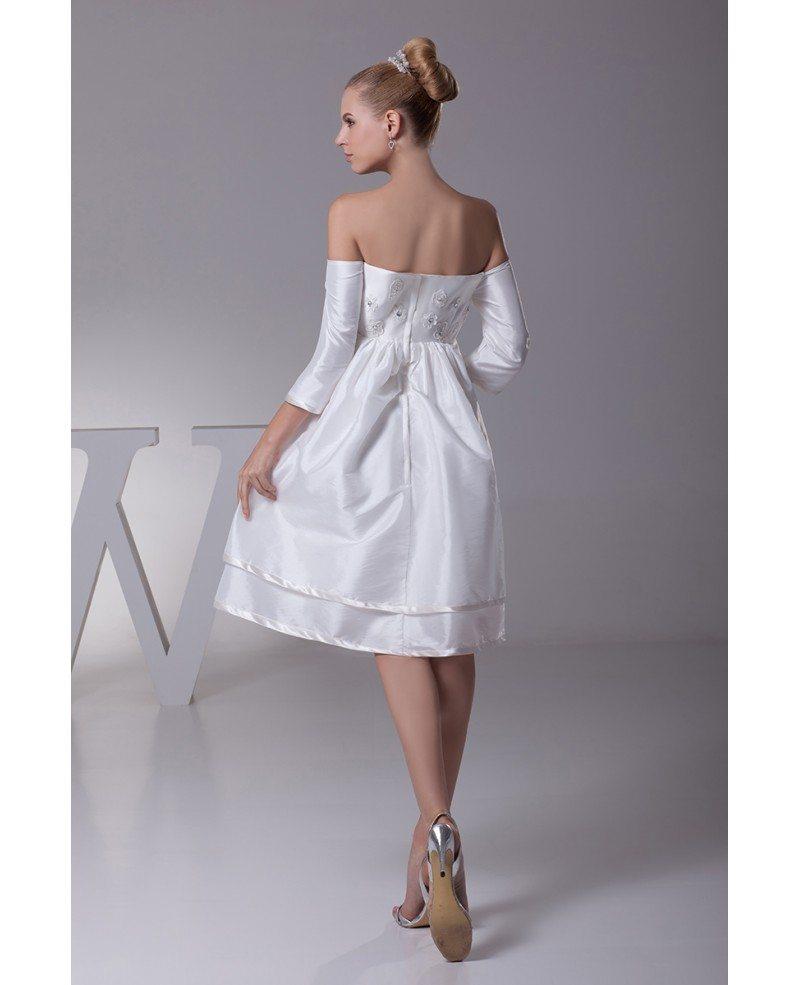 Off The Shoulder Short Wedding Dresses With Sleeves Floral