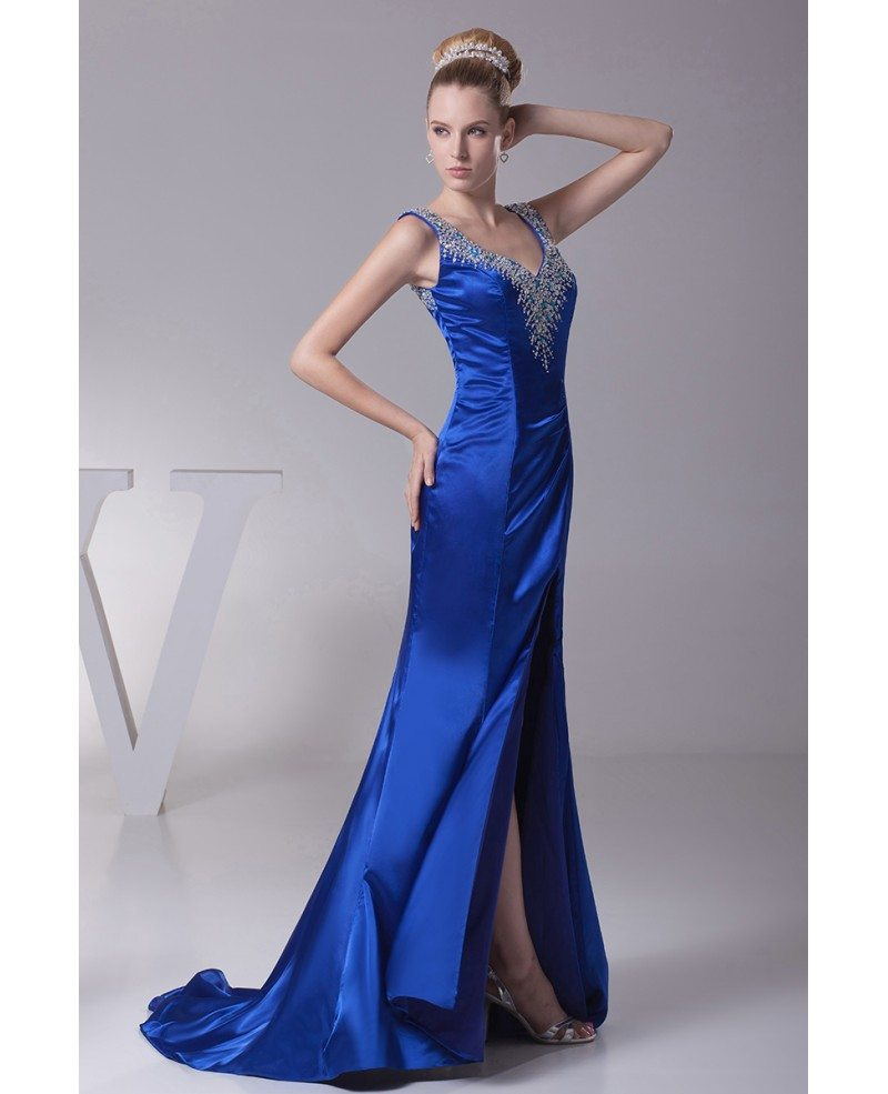 sexy sweetheart neck royal blue beading prom dress with