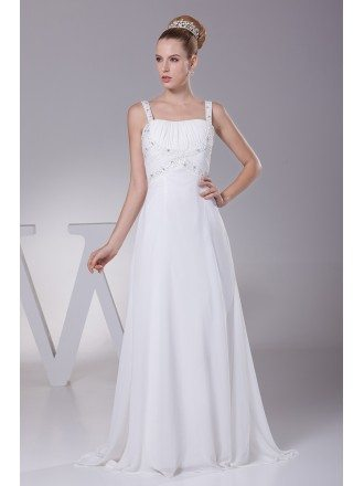 Plain White Beading Straps Long Pleated Wedding Dress with Little Train