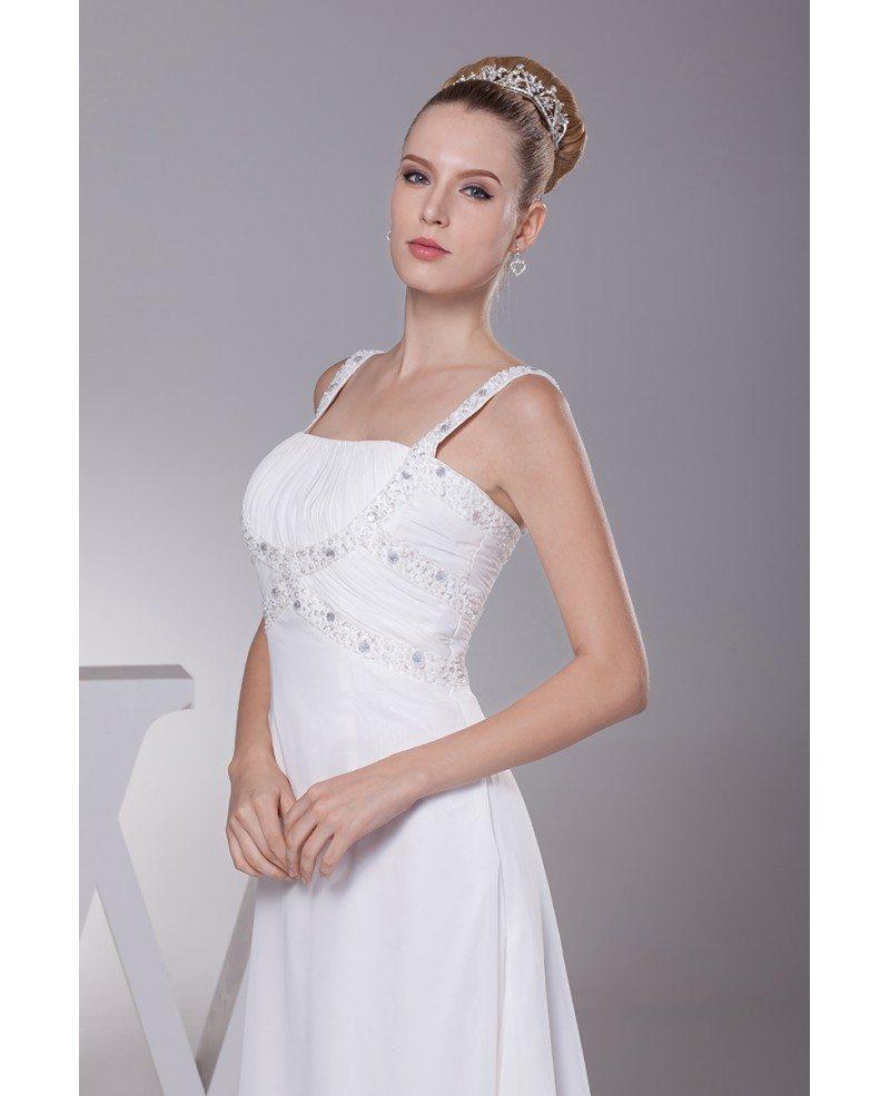 Plain White Beading Straps Long Pleated Wedding Dress With