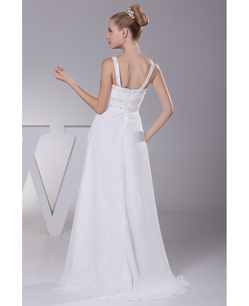 Plain white beading straps long pleated wedding dress with for Plain wedding dresses with straps