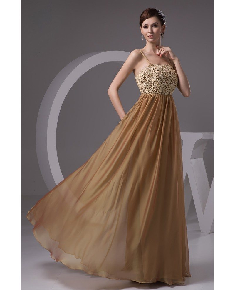 A-line Strapless Floor-length Chiffon Prom Dress With Lace