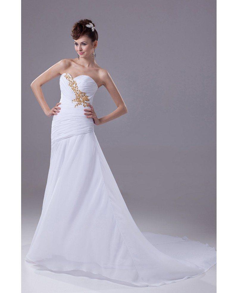Pleated Sweetheart Chiffon White with Gold Beading Wedding Dress ...
