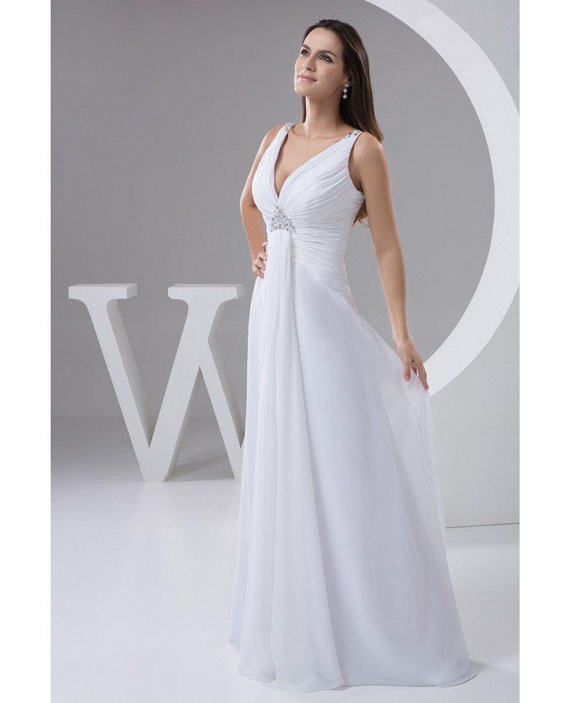A line v neck floor length chiffon wedding dress with for A line floor length wedding dress