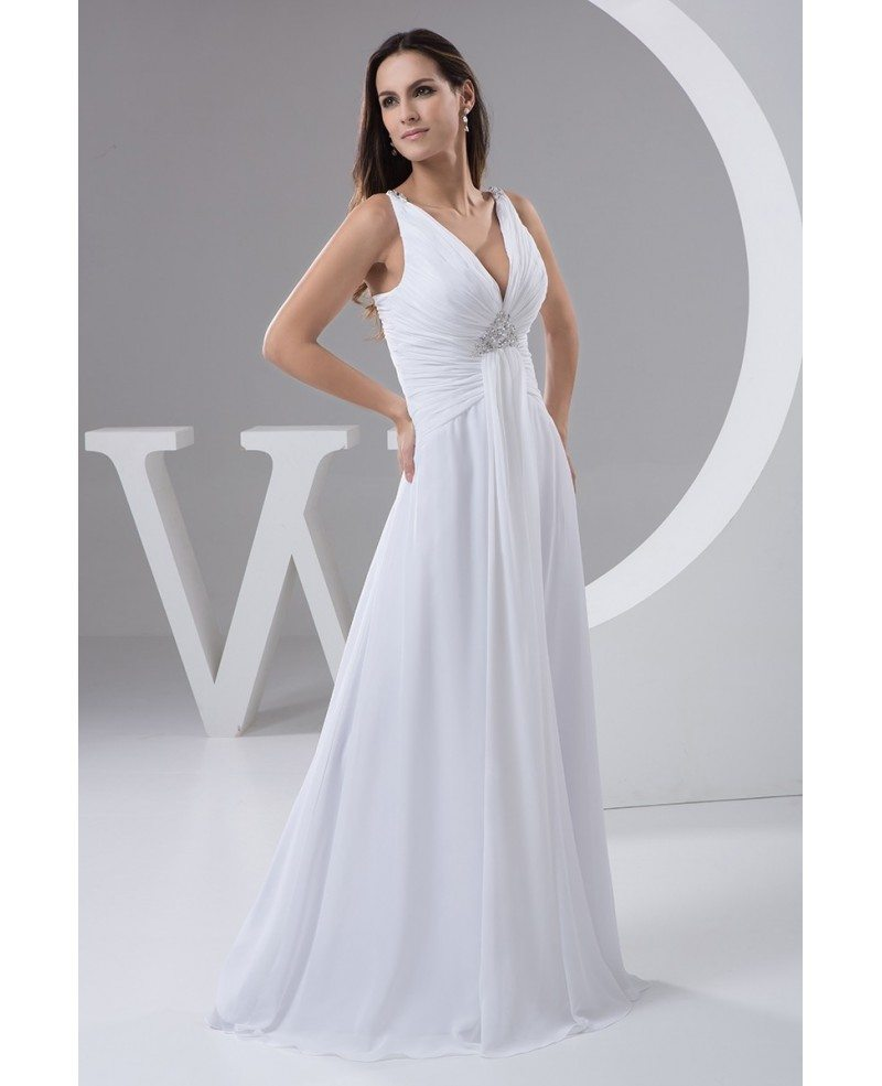 V Neck Wedding Gown: A-line V-neck Floor-length Chiffon Wedding Dress With