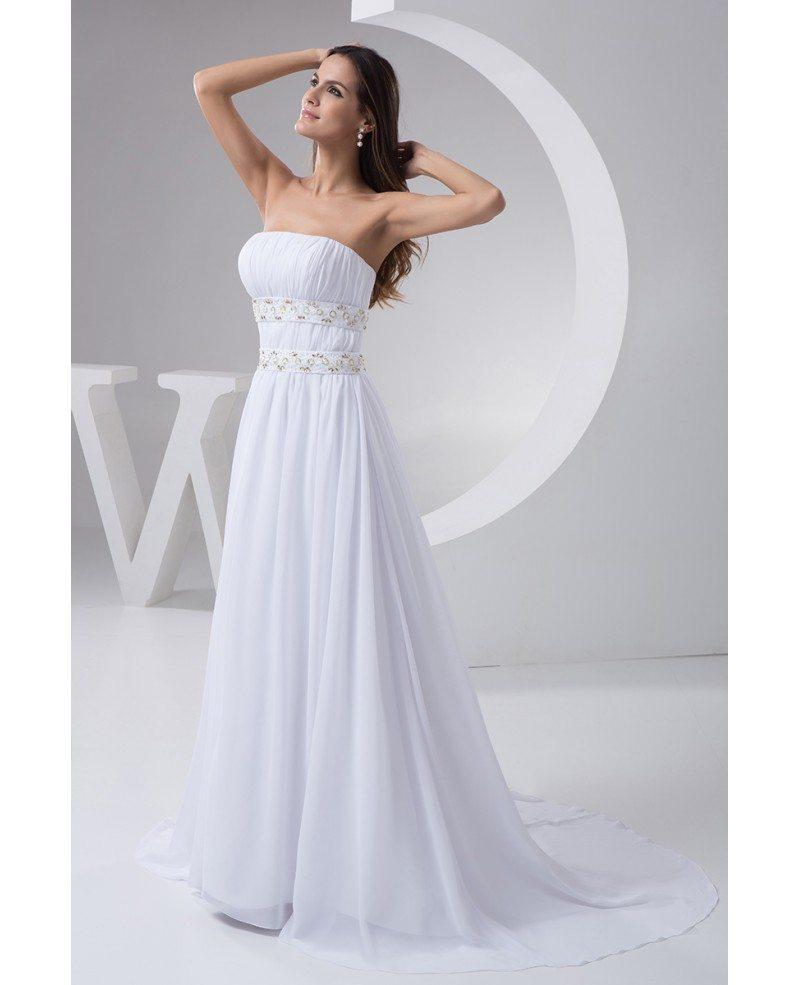 Chiffon Wedding Dresses: A-line Strapless Sweep Train Chiffon Wedding Dress With