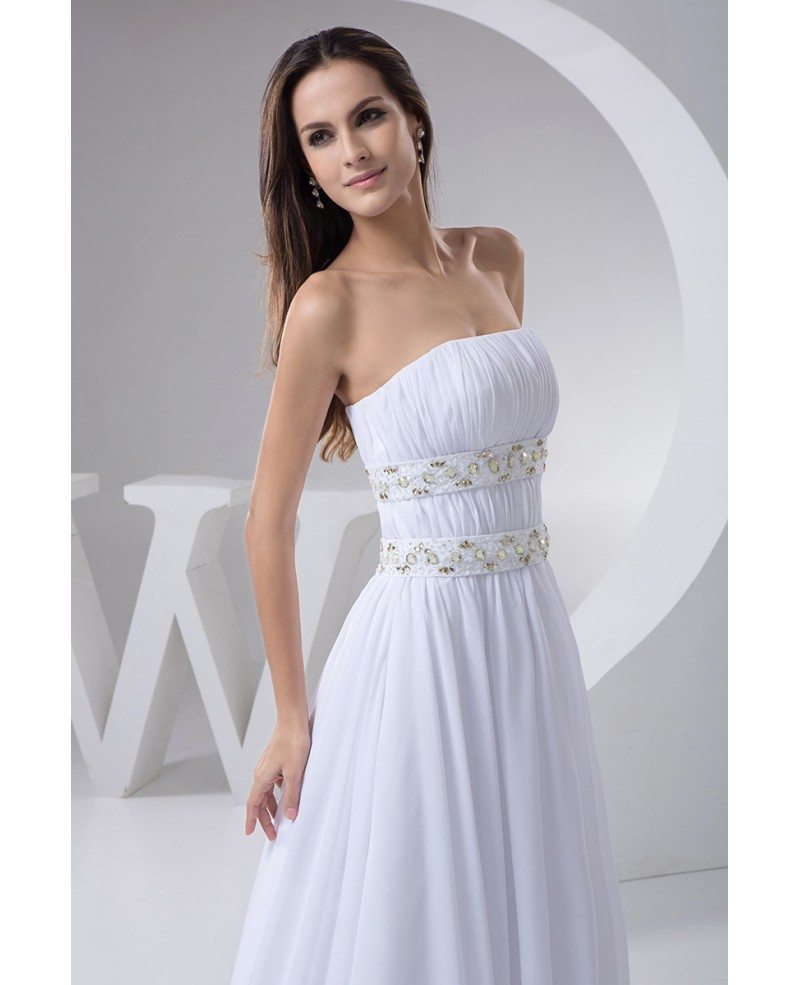 A-line Strapless Sweep Train Chiffon Wedding Dress With