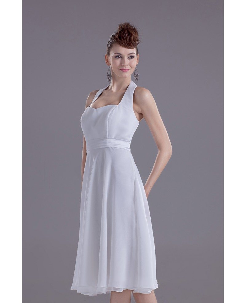 Casual short wedding dresses with straps simple halter for Simple casual wedding dresses