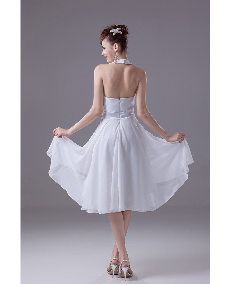 Casual Short Wedding Dresses With Straps Simple Halter