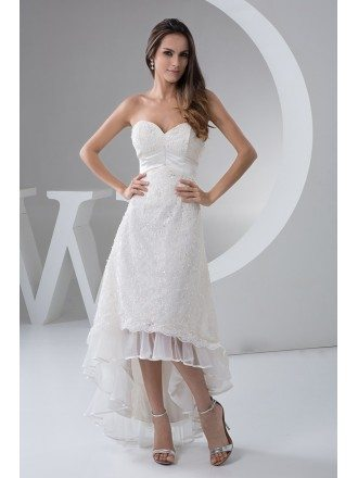 A-line Sweetheart Asymmetrical Lace Wedding Dress With Beading
