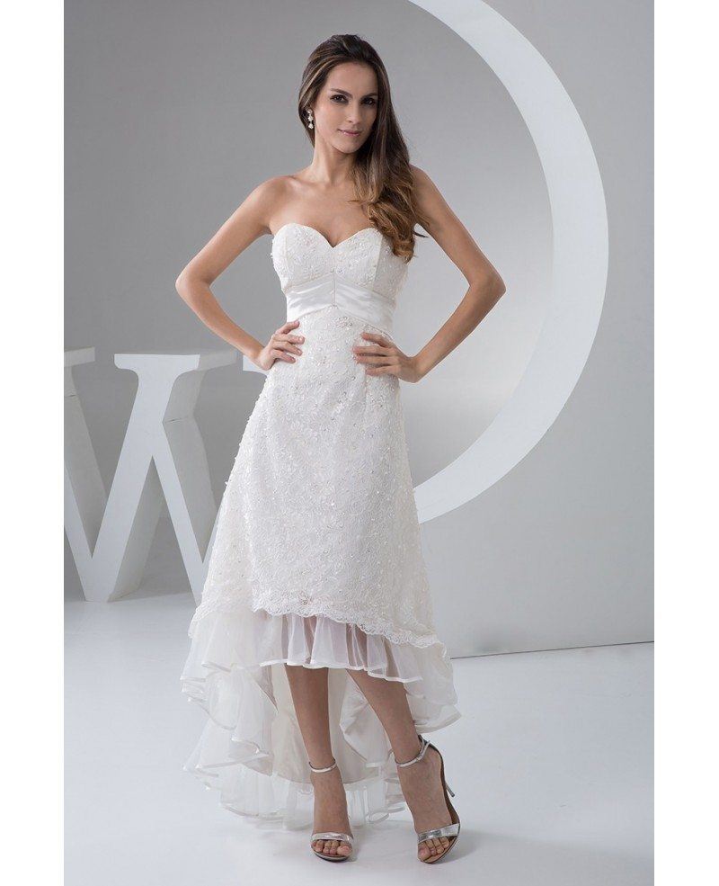 Asymmetrical Wedding Gown: A-line Sweetheart Asymmetrical Lace Wedding Dress With