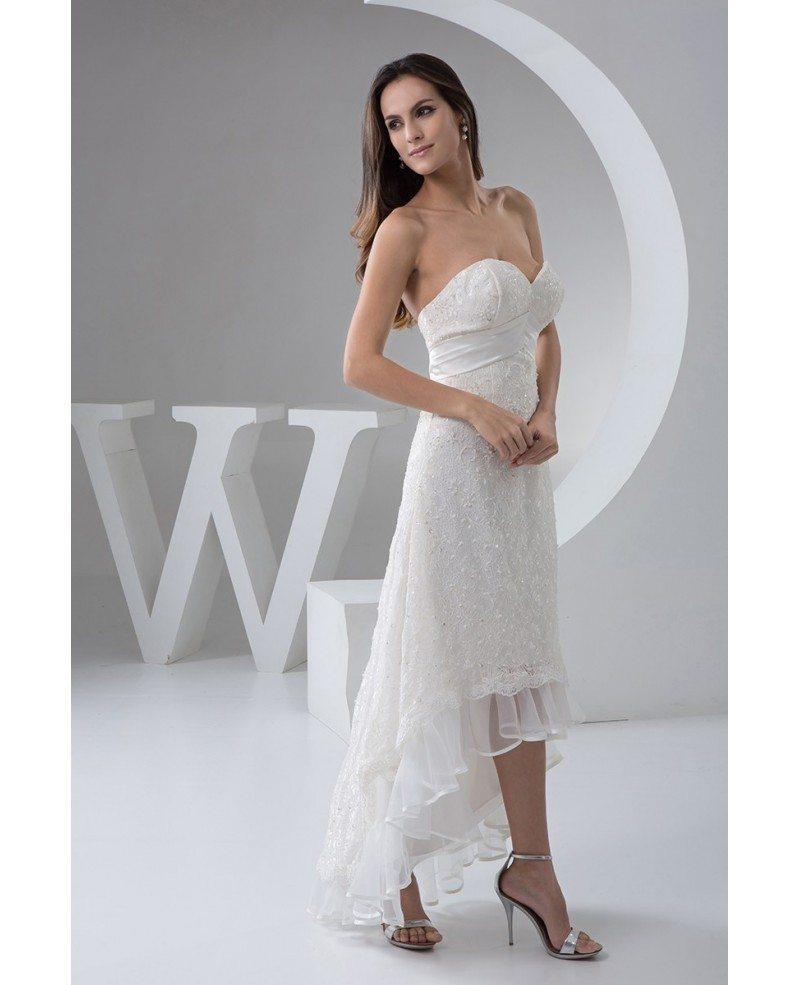 A line sweetheart asymmetrical lace wedding dress with for A line sweetheart lace wedding dress