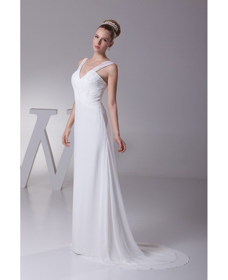 Long Slim Pleated Crossing Beading Wedding Dress With