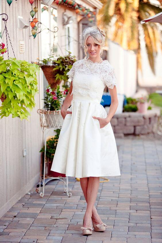 For Older Brides Tea Length Wedding Dresses