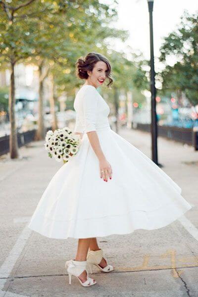 Tea Length Wedding Dress For Older Bride