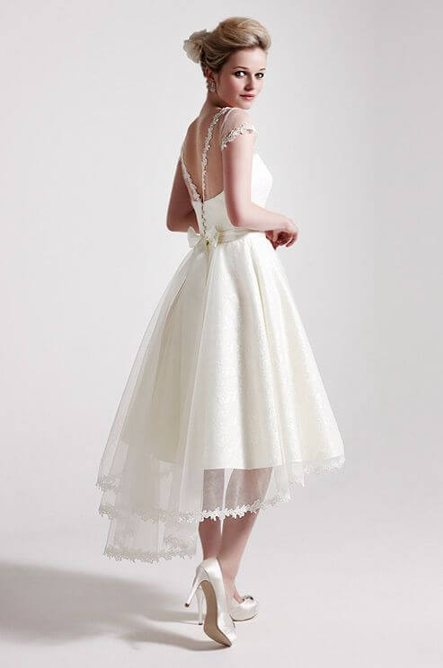 tea-length wedding dress for older bride