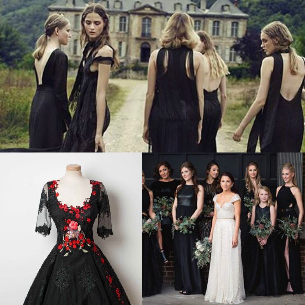 Top trending color themes for bridesmaid dresses 2016 and 2017 black color bridesmaid dresses ombrellifo Image collections