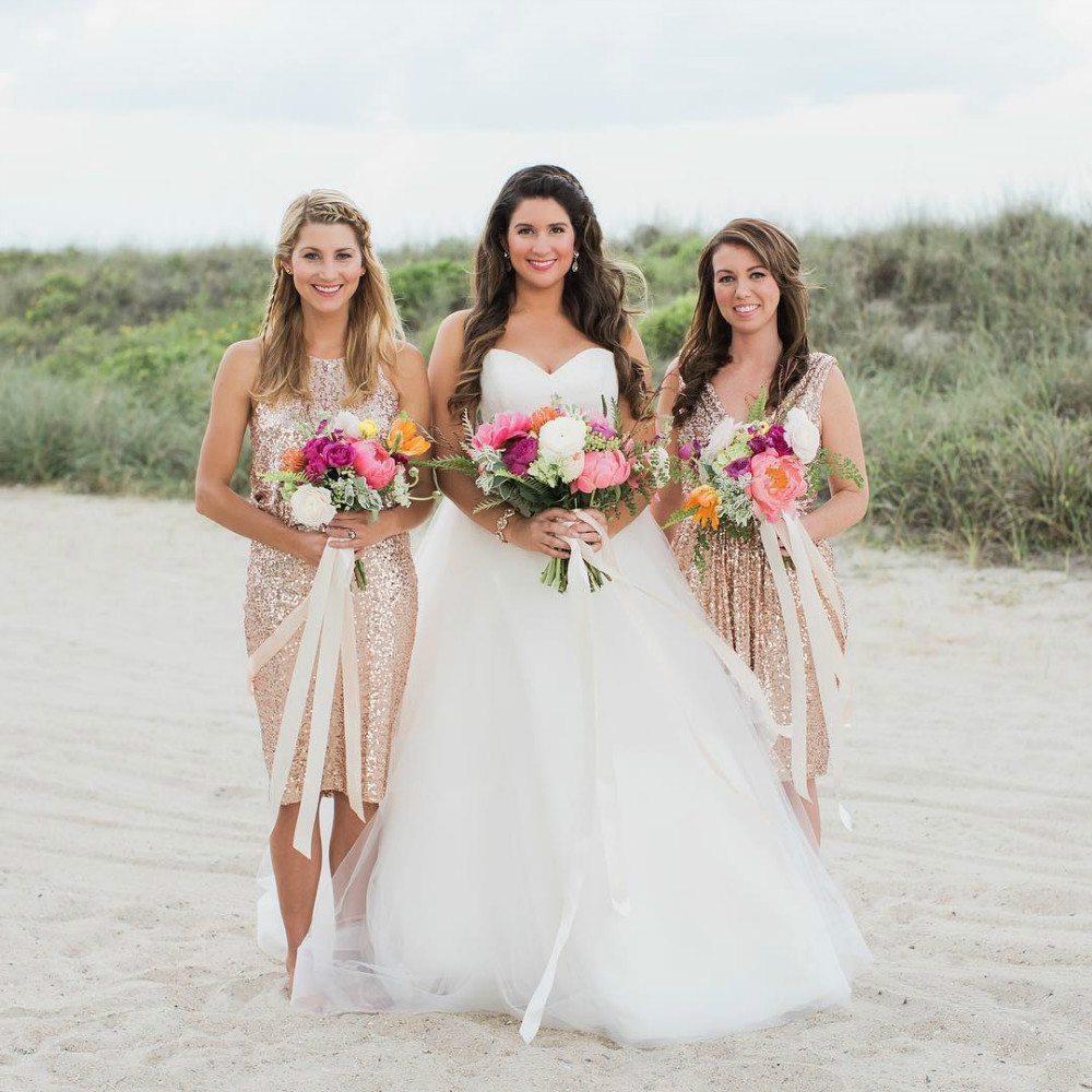 gold color bridesmaid dresses