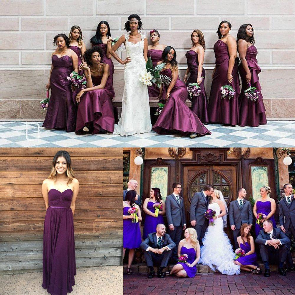 purple color bridesmaid dresses