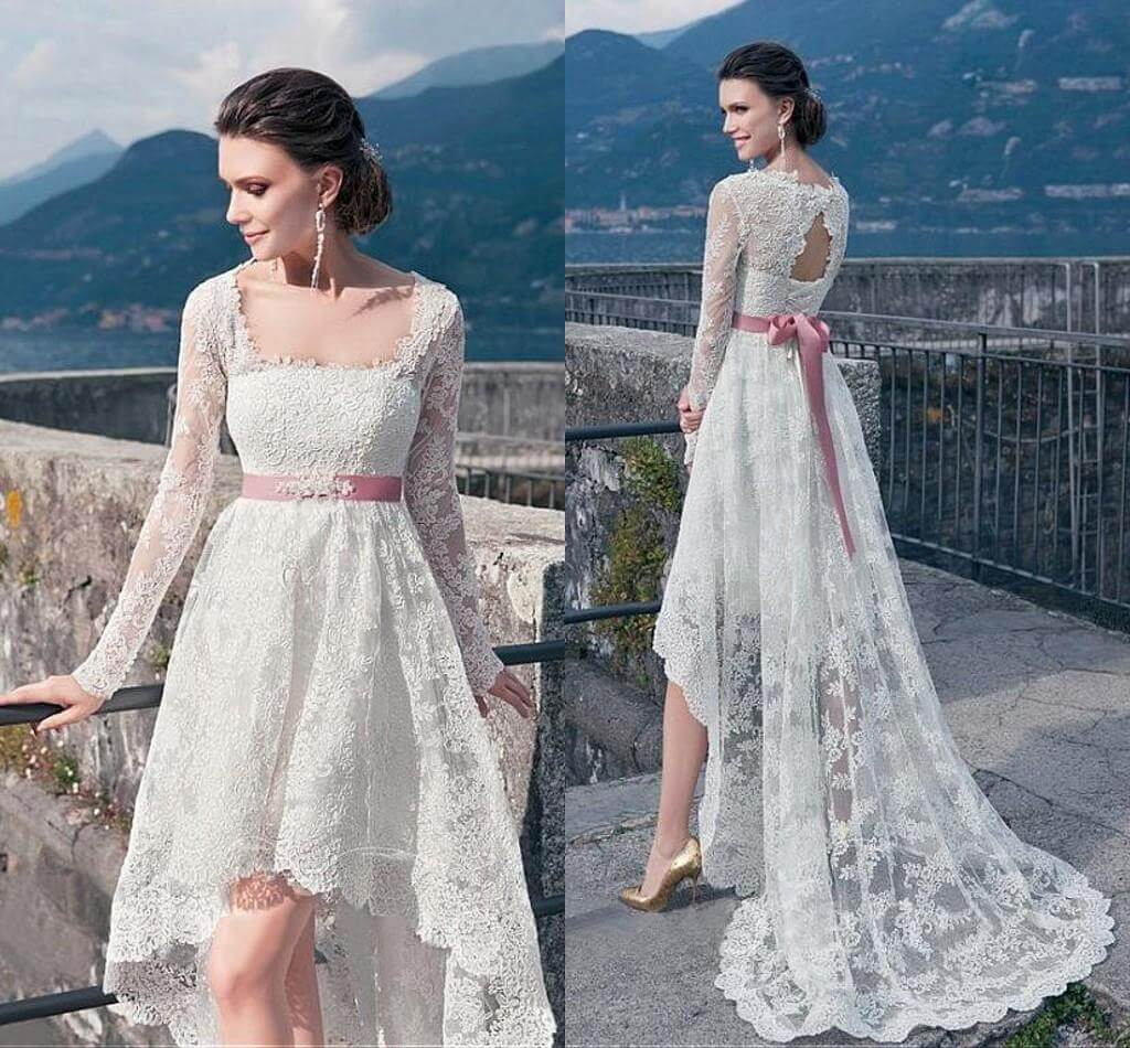 25 of the most ridiculously beautiful hi lo wedding for Long sleeve casual wedding dresses