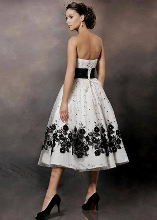 Top 45 tea length wedding dress with color on pinterest for Black tea length wedding dress