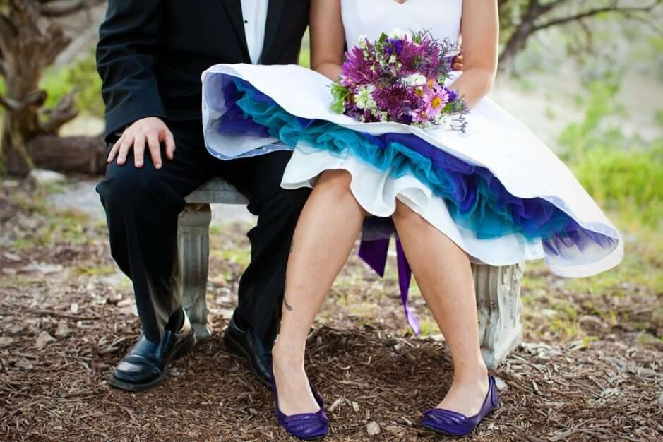 Tea Length Wedding Dress With Color