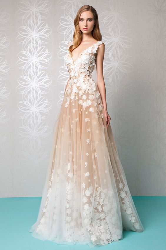 15 most stunning champagne wedding dresses for Wedding dress champagne lace