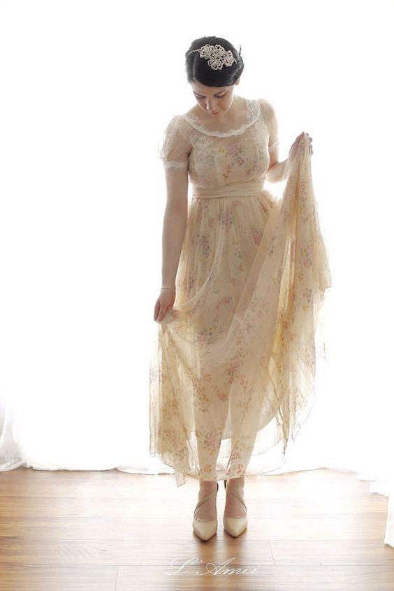 champagne vintage dress