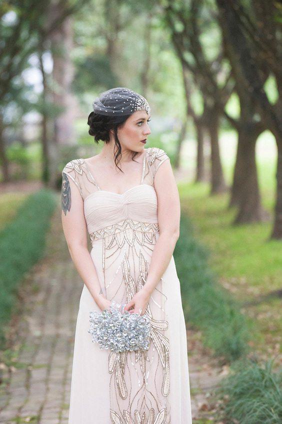 champagne cap sleeved dress