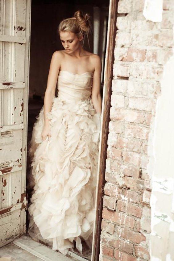 champagne ruffle dress