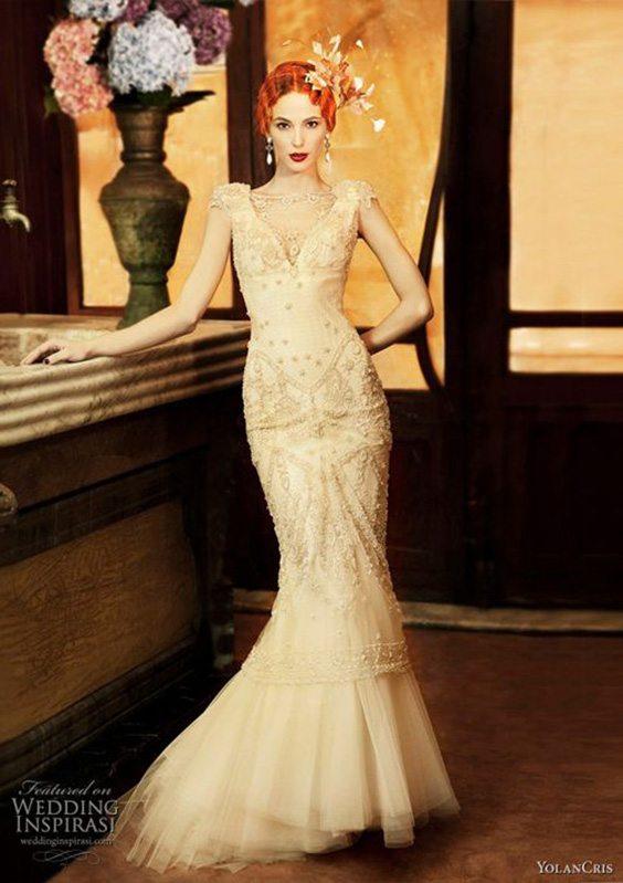 champagne mermaid dress