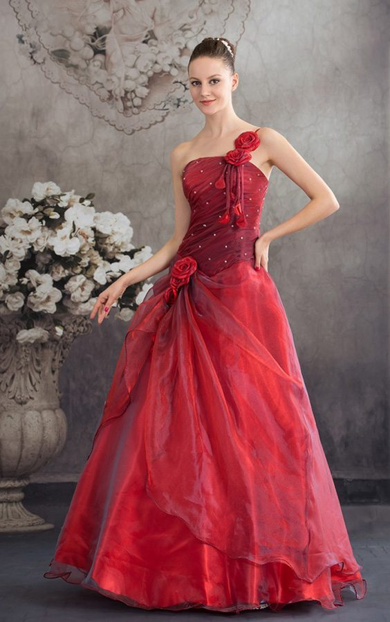 burgundy red wedding dress