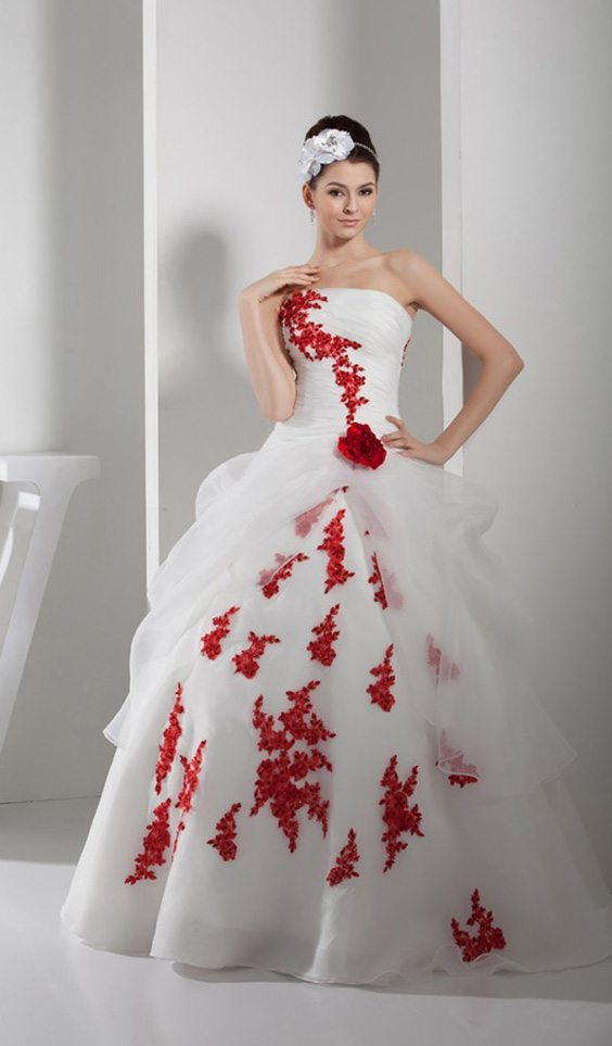 Red And White Organza Wedding Dress