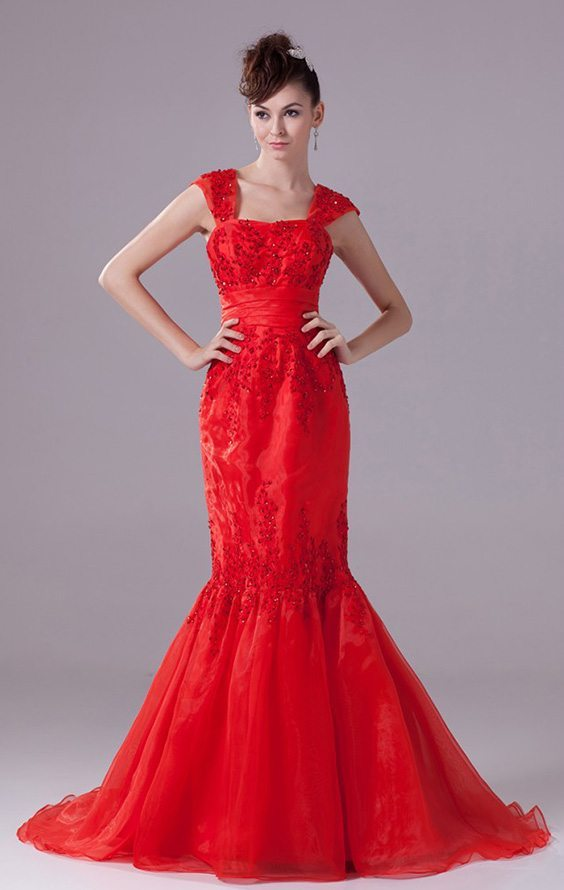 Cheap wedding dresses with red color