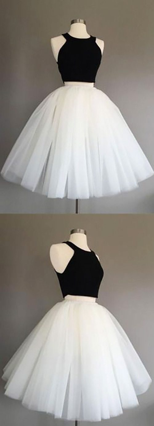 black and white two piece homecoming dresses