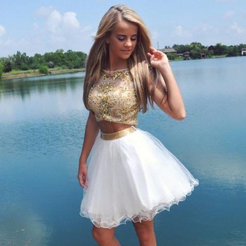gold two piece homecoming dresses