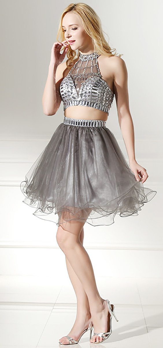 silver 2 piece homecoming dresses