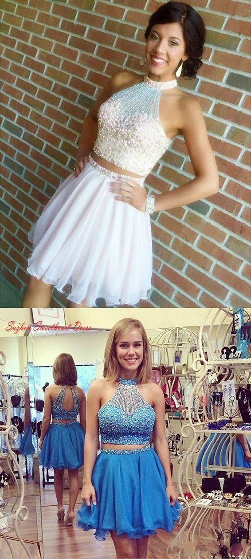 beaded 2-piece homecoming dresses