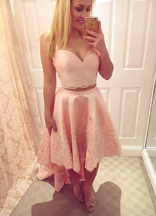 pink high low 2-piece homecoming dresses